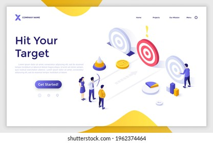 Landing page template with people or entrepreneurs shooting circular targets with bow and arrows. Concept of goal achievement, business competition. Modern isometric vector illustration for webpage.