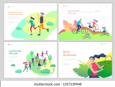 Landing page template with People group running, riding bicycles, tennis workout, rollerblading. Family and children performing sports outdoor activities at park or Nature. Cartoon illustration