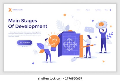 Landing page template with people holding blueprint, lightbulb and working on innovative project. Concept of main stages of engineering development. Modern flat vector illustration for website.