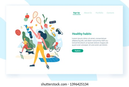 Landing page template with people performing sports activities and wholesome food. Healthy habits, active lifestyle, fitness, dietary nutrition. Modern flat vector illustration for advertisement.
