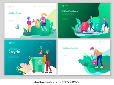 Landing page template with people Recycle Sort Garbage in different container for Separation to Reduce Environment Pollution. Family with kids collect garbage. Earth Day vector cartoon illustration