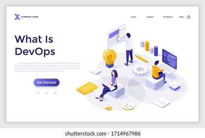 Landing page template with people working on computers, programming or developing software. Concept of devops, system development, information technology startup. Modern isometric vector illustration.