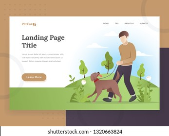 Landing page template of Pet care. Modern flat design concept of web page design for Pet care, pet store website. Illustration of a man walking with a dog. Young man with his dog. Pet vector character