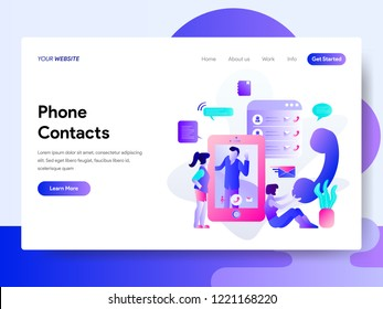 Landing page template of Phone Contacts Illustration. Modern flat design concept of web page design for website and mobile website.Vector illustration