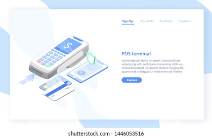 Landing page template with point of sale, electronic terminal or reader and credit cards. Contactless payment system or technology. Modern vector illustration for banking service advertisement.