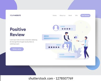 Landing page template of Positive Review Illustration Concept. Modern flat design concept of web page design for website and mobile website.Vector illustration