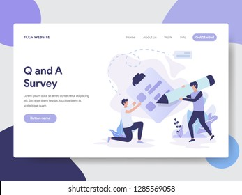 Landing page template of Question and Answer Survey Illustration Concept. Modern flat design concept of web page design for website and mobile website.Vector illustration
