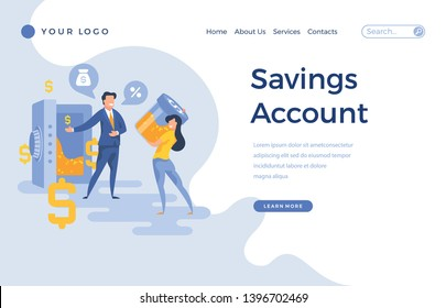 Landing page template savings account concept with people characters. Modern flat design web page for website and mobile apps. Vector illustration