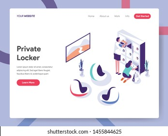 Landing page template of Secure Space and Private Locker Illustration Concept. Isometric design concept of web page design for website and mobile website.Vector illustration