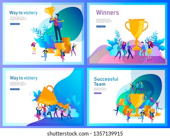 Landing page template set. Business Team Success hold Golden winner cup, concept of people are happy with victory. Office Workers Celebrating with Big Trophy, ways goals