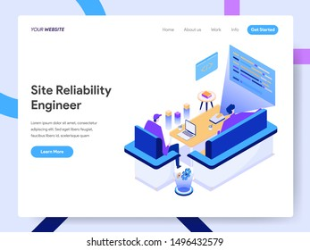 Landing page template of Site Reliability Engineer Isometric Illustration Concept. Modern design concept of web page design for website and mobile website.Vector illustration EPS 10