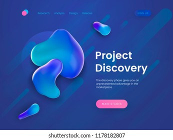 Landing page template for the sites with theme of research, discovery, science and education. Liquid and flow graphics elements. Header for website. Vector illustration