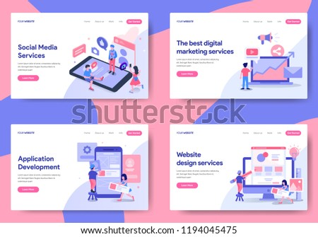 landing page template social media digital stock vector royalty