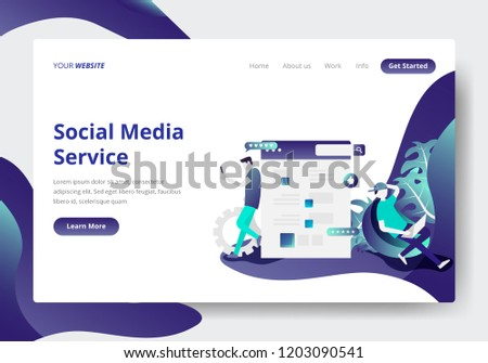 landing page template social media services stock vector royalty