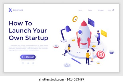Landing page template with spaceship or space rocket and group of people preparing it for flight. Startup business project launch. Modern isometric vector illustration for website, webpage, banner.
