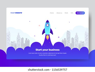Landing page template of Startup Business. Modern flat design concept of web page design for website and mobile website.Vector illustration