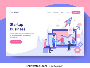 Landing page template of Startup Business Concept. Modern flat design concept of web page design for website and mobile website.Vector illustration