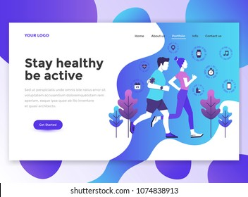 Landing page template of Stay healthy be active. Modern flat design concept of web page design for website and mobile website. Easy to edit and customize. Vector illustration