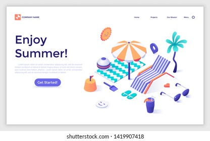 Landing page template with sunlounger, umbrella, palm tree, sunglasses, exotic cocktail. Vacation at tropical resort. Modern isometric vector illustration for summer travel destination advertisement.
