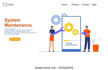 Landing page template of System Maintenance Illustration Concept. Modern Flat design concept of web