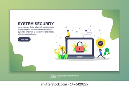 Landing page template of system security. Modern flat design concept of web page design for website and mobile website. Easy to edit and customize.