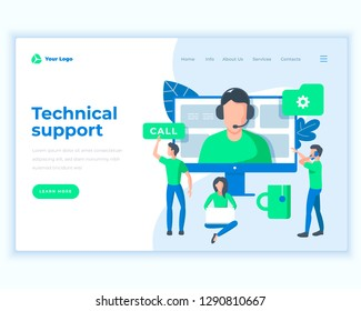 Landing page template technical support concept with office people. Modern flat design web page design for website and mobile website. Vector illustration