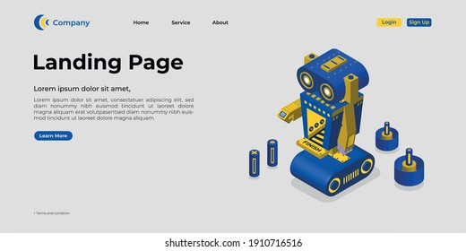 Landing page template. There are 3d vectors. Web page design for websites and mobile websites. Easy to edit and customize.