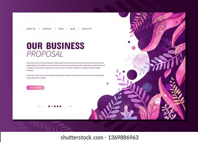 Landing page template with trendy abstract background with modern flat textured vector violet bright leaves, flowers and branches. Web site and ui ux design