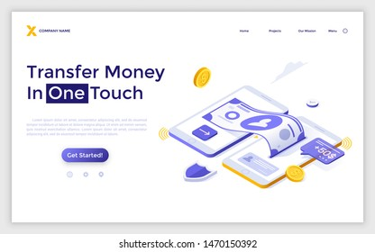 Landing page template with two cellphones sending and receiving dollar banknote and coins. Mobile wireless touch technology for money transfers, digital transactions. Isometric vector illustration.