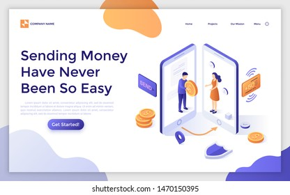 Landing page template with two smartphones and man giving giant coin to woman. Concept of wireless mobile payment technology, money transfer service. Isometric vector illustration for web banner.