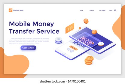 Landing page template with two smartphones lying one on another. Touch technology for secure mobile payments, QR code money transfer service. Modern isometric vector illustration for website, webpage.