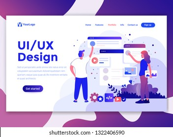 Landing page template of Ui/Ux Design. Modern flat design concept of web page design for website and mobile website. Easy to edit and customize. Vector illustration