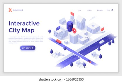 Landing page template with urban district with modern buildings, streets, river, bridge. Concept of online interactive city map. Isometric vector illustration for navigation internet service website.