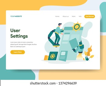 Landing page template of User Settings Illustration Concept. Modern Flat design concept of web page design for website and mobile website.Vector illustration