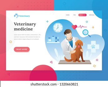 Landing page template of Veterinary. Modern flat design concept of web page design for veterinarian website. Vector illustration of A vet checks a pet. A veterinarian with a pet. Vector character