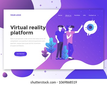 Landing page template of Virtual Reality platform. Modern flat design concept of web page design for website and mobile website. Easy to edit and customize. Vector illustration