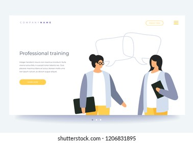 Landing page template. Vocational training and education. Concept of learning, business training and advanced training. Young cartoon woman conducts learning for employees. Vector flat illustration.