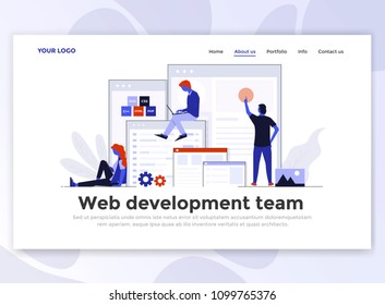 Landing page template of Web Development team. Modern flat design concept of web page design for website and mobile website. Easy to edit and customize. Vector illustration