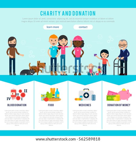 landing page template website charity foundation stock vector