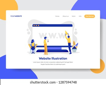 Landing page template of Website on Desktop Illustration Concept. Modern flat design concept of web page design for website and mobile website.Vector illustration