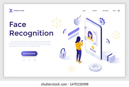Landing page template with woman standing in front of giant mobile phone and trying to get access. Face recognition system, facial biometric authentication. Isometric vector illustration for website.