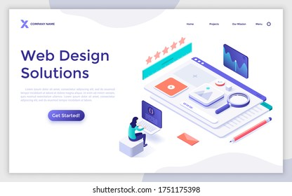 Landing page template with woman working on laptop computer and creating website. Concept of web design solutions, user interface engineering. Modern isometric vector illustration for webpage.