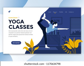 Landing page template of Yoga Classes. Modern flat design concept of web page design for website and mobile website. Easy to edit and customize. Vector illustration
