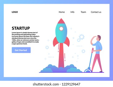 Landing page template.Concept web page design.Businessman launches rocket.Business new technologies.Flat vector.