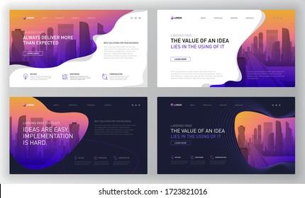 Landing page templates set for business website. Modern web page design concept layout for website. Vector illustration. Brochure cover, banner, powerpoint presentation slides, facebook banner.