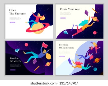 landing page templates set. Inspired People flying in space and reading online books. Characters moving and floating in dreams, imagination and freedom inspiration. Flat design, vector illustration.