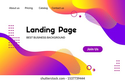 Landing page vector template. Abstract modern background with liquid fluid color shapes. Minimalistic template for websites, apps