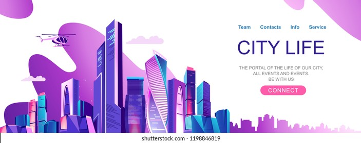 Landing page for a website about city life, social communication, concept, cityscape of a business center Vector horizontal illustration, banner on a white background