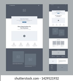 Landing page website design template for business. One page wireframe. Flat modern responsive design. Ux ui website template. Concept mockup layout for development. Best convert page.