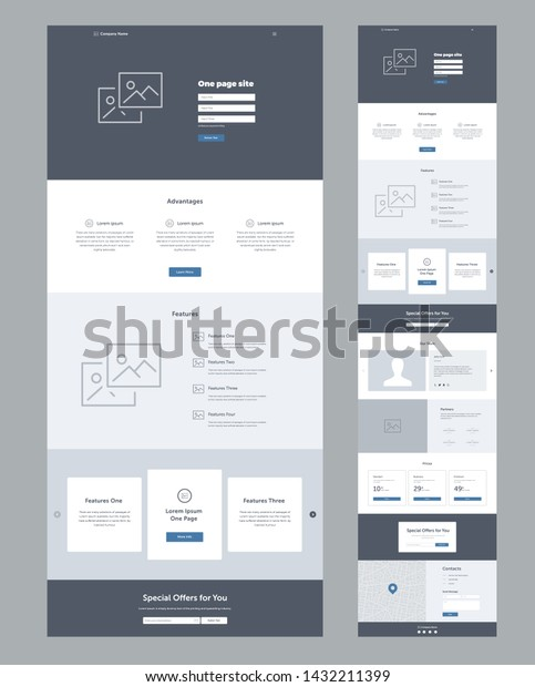 Landing Page Website Template Modern Responsive Stock Vector